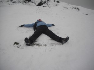 Making a snow angel on a walking meeting.